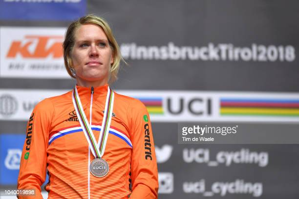 Podium / Ellen Van Dijk of The Netherlands Bronze Medal / Celebration / during the Women Elite Individual Time Trial a 27,8km race from Wattens to...