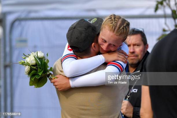 Podium / Elynor Backstedt of United Kingdom Bronze medal / Charley Calvert of United Kingdom Boyfriend and Cyclist Celebration / during the 92nd UCI...