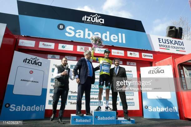 Podium / Emanuel Buchmann of Germany and Team Bora Hansgrohe Yellow Leader Jersey / Celebration / during the 59th ItzuliaVuelta Ciclista Pais Vasco...