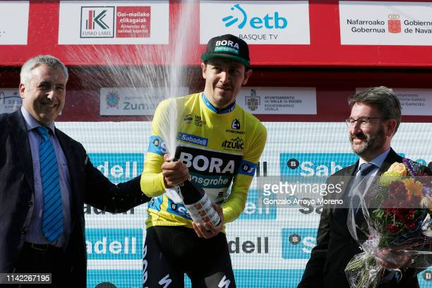Podium / Emanuel Buchmann of Germany and Team Bora Hansgrohe Yellow Leader Jersey / Celebration / Champagne / during the 59th ItzuliaVuelta Ciclista...