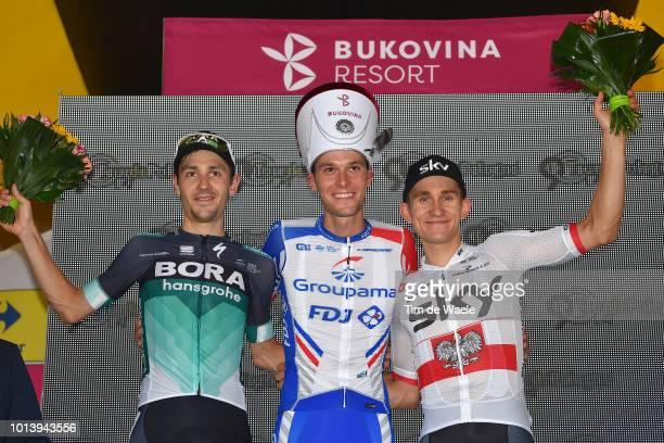 Podium / Emanuel Buchmann of Germany and Team BoraHansgrohe / Georg Preidler of Austria and Team Groupama Fdj / Michal Kwiatkowski of Poland and Team...