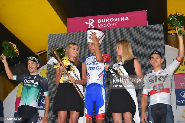Podium / Emanuel Buchmann of Germany and Team Bora-Hansgrohe / Georg Preidler of Austria and Team Groupama - Fdj / Michal Kwiatkowski of Poland and...