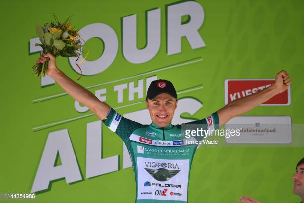 Podium / Emil Dima of Romania and Team Giotti Victoria Green Mountains Jersey / Celebration / during the 43rd Tour of the Alps 2019 Stage 1 a 144km...
