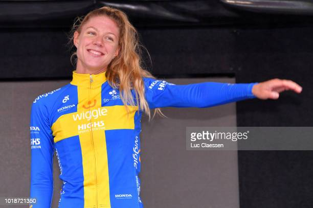 Podium / Emilia Fahlin of Sweden and Team Wiggle High5 / Celebration / during the 4th Ladies Tour of Norway 2018 Stage 2 a 1277km stage from...
