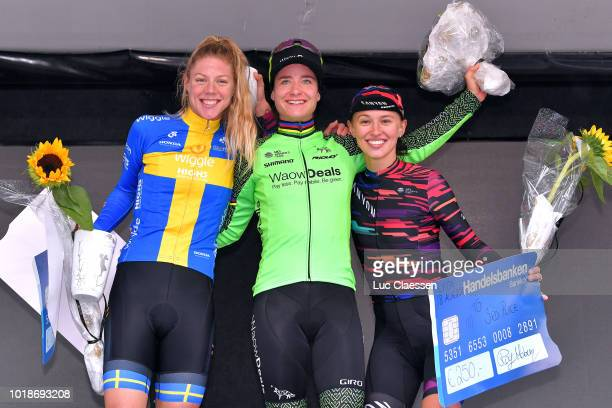 Podium / Emilia Fahlin of Sweden and Team Wiggle High5 / Marianne Vos of The Netherlands and Team WaowDeals Pro Cycling / Katarzyna Niewiadoma of...