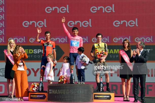Podium / Emma Vittoria Nibali of Italy Daughter / Vincenzo Nibali of Italy and Team Bahrain - Merida / Aimy Sofía Carapaz of Ecuador Daughter /...
