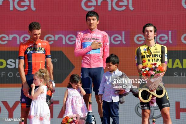Podium / Emma Vittoria Nibali of Italy Daughter / Vincenzo Nibali of Italy and Team Bahrain Merida / Aimy Sofía Carapaz of Ecuador Daughter / Richard...