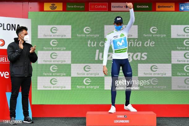 Podium / Enric Mas Nicolau of Spain and Movistar Team White Best Young Jersey / Celebration / Oscar Pereiro of Spain Ex Pro-cyclist winner of the...