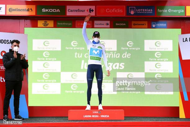 Podium / Enric Mas Nicolau of Spain and Movistar Team White Best Young Jersey / Celebration / Oscar Pereiro of Spain Ex Procyclist winner of the Tour...