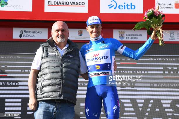 Podium / Enric Mas of Spain and Team QuickStep Floors Blue Young Jersey / Celebration / during the 58th Vuelta Pais Vasco 2018 Stage 3 a 1848km stage...