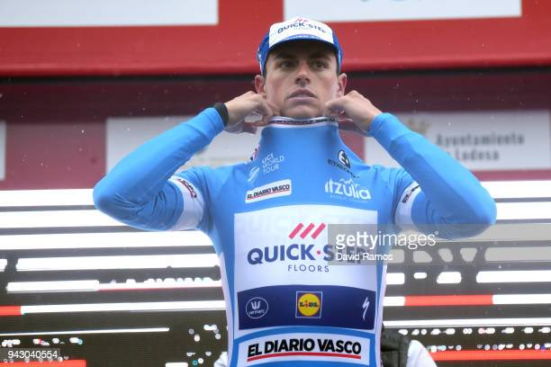 Podium / Enric Mas of Spain and Team QuickStep Floors Blue Young Jersey / Celebration / during the 58th Vuelta Pais Vasco 2018 Stage 6 a 1222km stage...