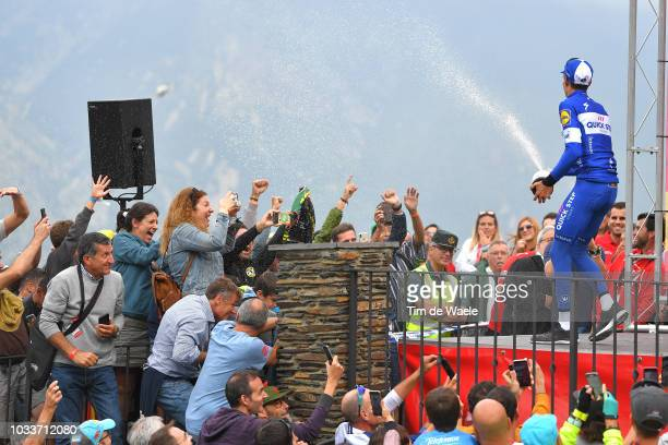 Podium / Enric Mas of Spain and Team QuickStep Floors / Celebration / Champagne / Fans / Public / during the 73rd Tour of Spain 2018 Stage 20 a 973km...