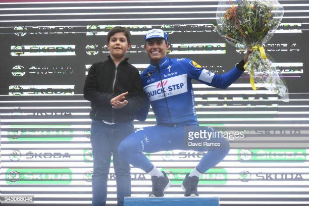 Podium / Enric Mas of Spain and Team QuickStep Floors / Celebration / Flowers / Children / during the 58th Vuelta Pais Vasco 2018 Stage 6 a 1222km...
