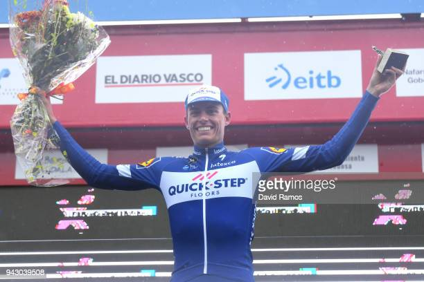 Podium / Enric Mas of Spain and Team QuickStep Floors / Celebration / Flowers / during the 58th Vuelta Pais Vasco 2018 Stage 6 a 1222km stage from...
