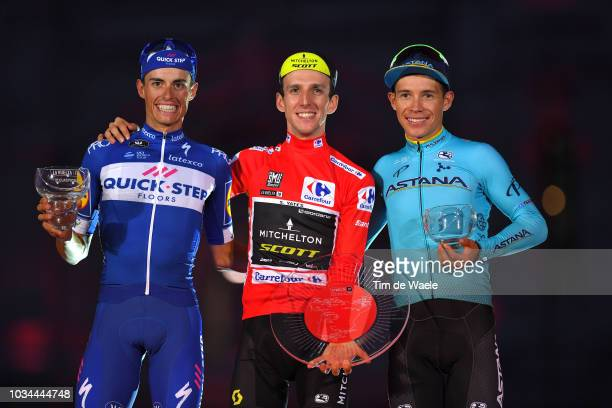 Podium / Enric Mas of Spain and Team Quick-Step Floors / Simon Yates of Great Britain and Team Mitchelton-Scott Red Leader Jersey / Miguel Angel...