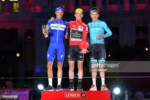 Podium / Enric Mas of Spain and Team QuickStep Floors / Simon Yates of Great Britain and Team MitcheltonScott Red Leader Jersey / Miguel Angel Lopez...