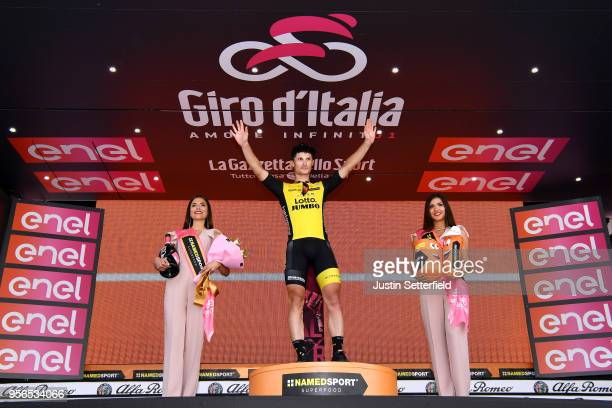 Podium / Enrico Battaglin of Italy and Team LottoNL-Jumbo / Celebration / during the 101th Tour of Italy 2018, Stage 5 a 153km stage from Agrigento...