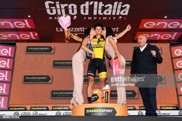 Podium / Enrico Battaglin of Italy and Team LottoNL-Jumbo / Celebration / Flowers / during the 101th Tour of Italy 2018, Stage 5 a 153km stage from...