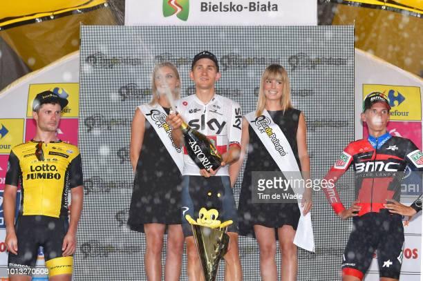 Podium / Enrico Battaglin of Italy anf Team Lotto Nl - Jumbo / Michal Kwiatkowski of Poland and Team Sky / Dylan Teuns of Belgium and Bmc Racing Team...