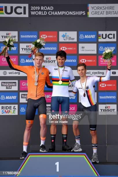 Podium / Enzo Leijnse of The Netherlands Silver medal / Antonio Tiberi of Italy Gold medal / Marco Brenner of Germany Bronze medal / Celebration /...