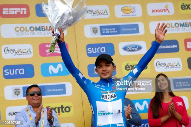 Podium / Fabio Andres Duarte Arevalo of Colombia and Team Medellin Blue Mountain Jersey / Celebration / during the 3rd Tour of Colombia 2020, Stage 5...