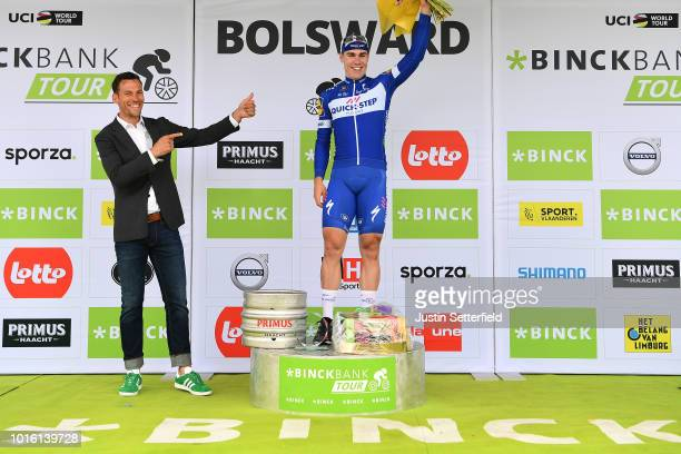 Podium / Fabio Jakobsen of Netherlands and Team Quick Step Floors / Celebration / Beer / during the 14th BinckBank Tour 2018, Stage 1 a 177,3km stage...