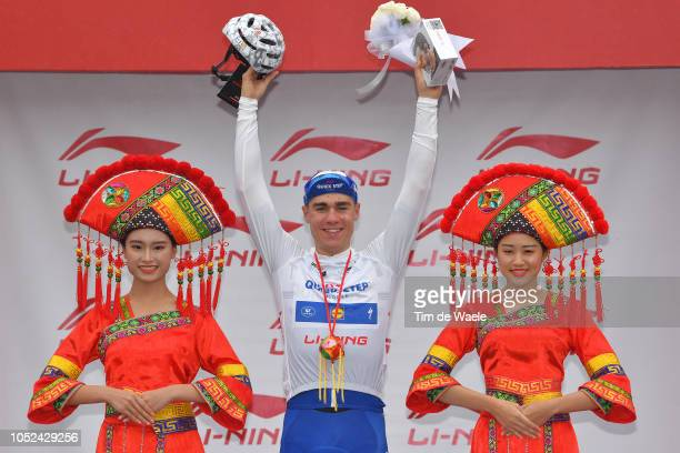 Podium / Fabio Jakobsen of The Netherlands and Team QuickStep Floors White Best Young Rider Jersey / Celebration / during the 2nd Tour Of Guangxi...