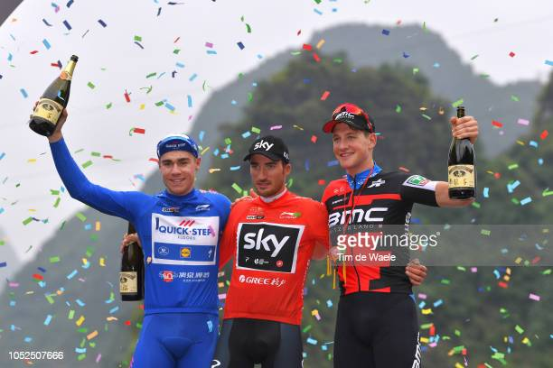 Podium / Fabio Jakobsen of The Netherlands and Team QuickStep Floors Blue Sprint Jersey / Gianni Moscon of Italy and Team Sky Red Leader Jersey /...