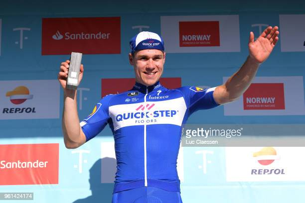 Podium / Fabio Jakobsen of The Netherlands and Team Quick-Step Floors / Celebration / during the 11th Tour des Fjords 2018, Stage 1 a 191km stage...