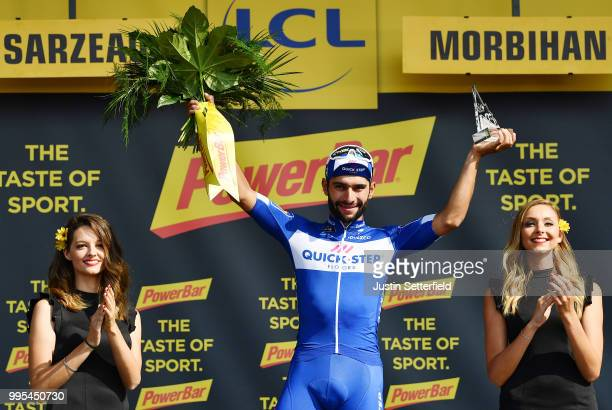 Podium / Fernando Gaviria of Colombia and Team QuickStep Floors / Bob Jungels of Luxembourg and Team QuickStep Floors / Philippe Gilbert of Belgium...