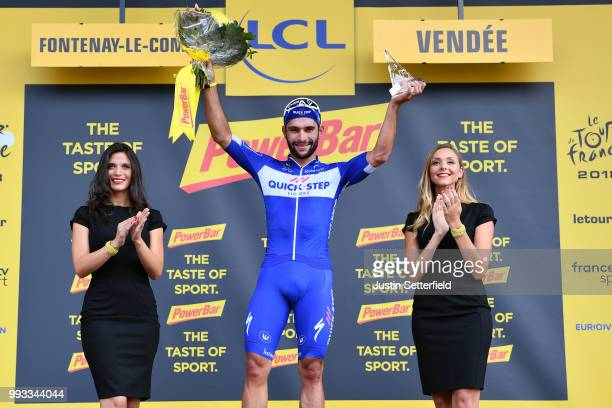 Podium / Fernando Gaviria of Colombia and Team QuickStep Floors / Celebration / during the 105th Tour de France 2018 Stage 1 a 201km from...