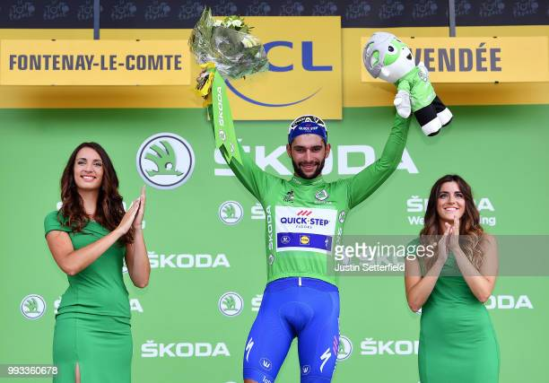 Podium / Fernando Gaviria of Colombia and Team QuickStep Floors White Green Sprint Jersey / Celebration / during the 105th Tour de France 2018 Stage...