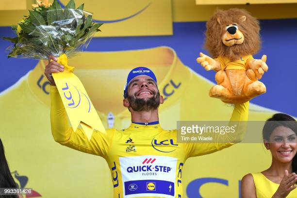Podium / Fernando Gaviria of Colombia and Team QuickStep Floors Yellow Leader Jersey Celebration / during the 105th Tour de France 2018 Stage 1 a...