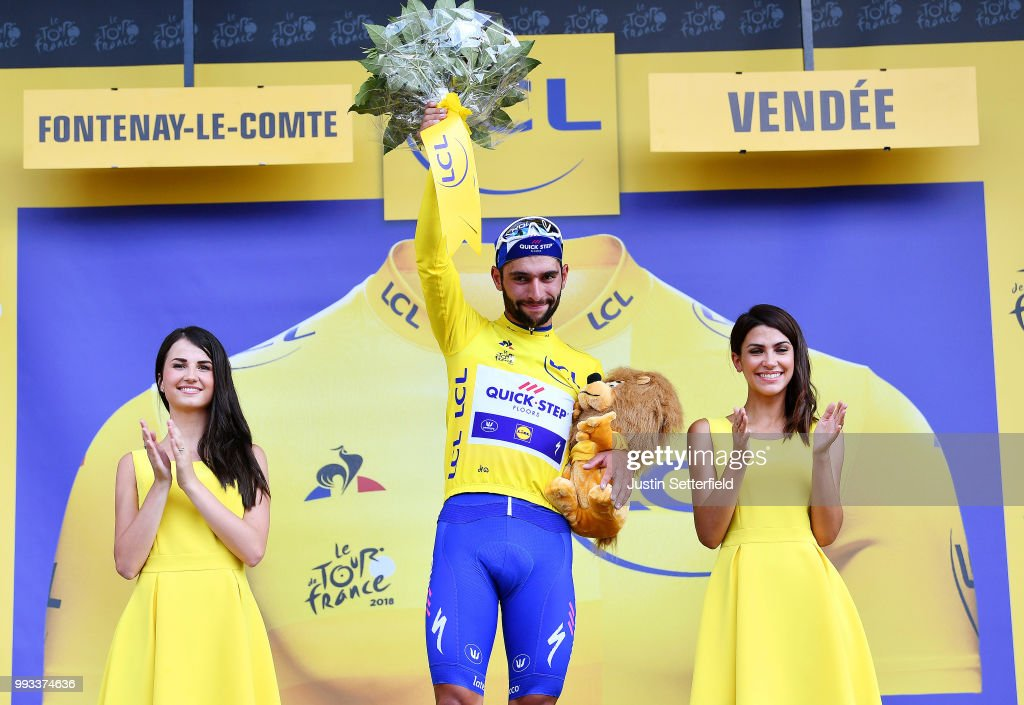 Podium / Fernando Gaviria of Colombia and Team Quick-Step Floors Yellow Leader Jersey / Celebration / during the 105th Tour de France 2018, Stage 1 a 201km from Noirmoutier-En-L'ile to Fontenay-le-Comte on July 7, 2018 in Fontenay-le-Comte, France.