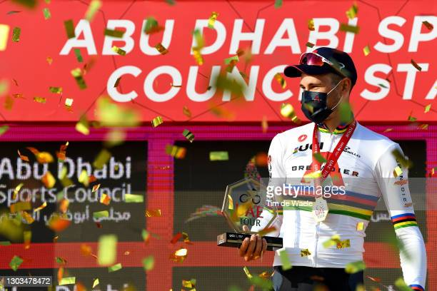 Podium / Filippo Ganna of Italy and Team INEOS Grenadiers Celebration, during the 3rd UAE Tour 2021, Stage 2 a 13km Individual Time Trial from Al...