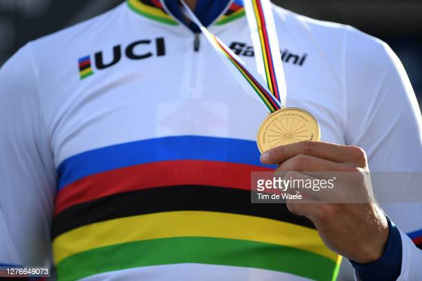 Podium / Filippo Ganna of Italy Gold medal World Champion Jersey / Celebration / Mask / Covid Safety Measures / Detail view / during the 93rd UCI...