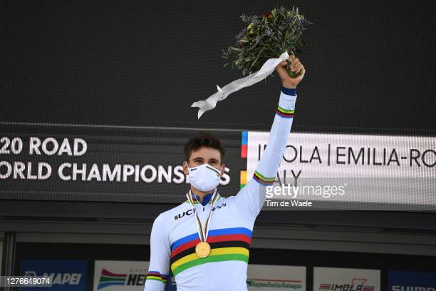 Podium / Filippo Ganna of Italy Gold medal World Champion Jersey / Celebration / Mask / Covid Safety Measures / Flowers / during the 93rd UCI Road...