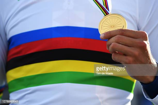 Podium / Filippo Ganna of Italy Gold medal World Champion Jersey / Celebration / Detail view / during the 93rd UCI Road World Championships 2020, Men...