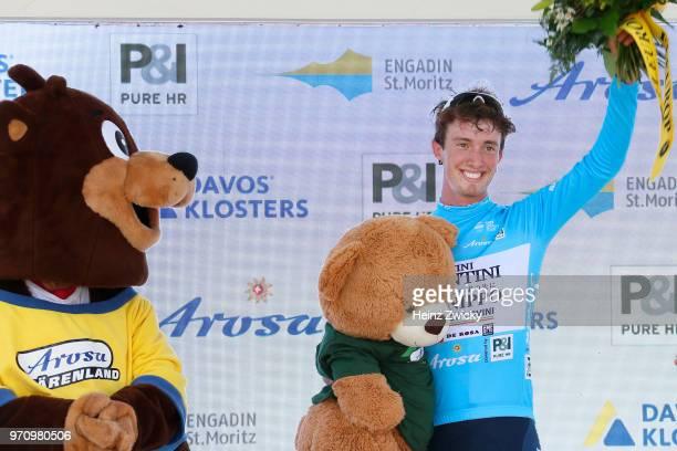Podium / Filippo Zaccanti of Italy and Team Nippo-Vini Fantini-Europa Ovini Blue Mountain Jersey / Celebration / during the 82nd Tour of Switzerland...