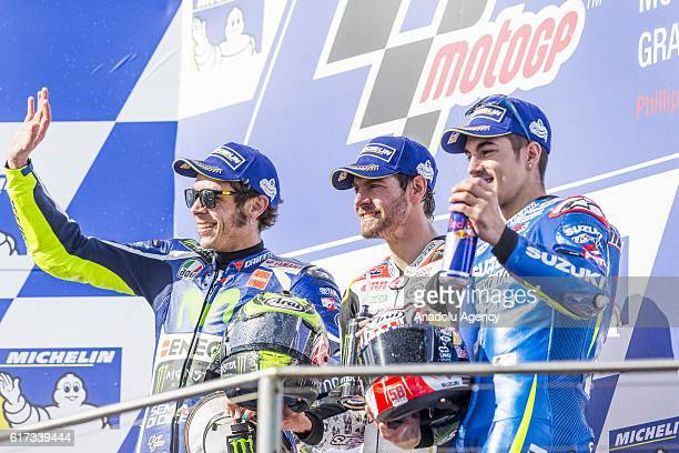 Podium finishers Valentino Rossi of Movistar Yamaha MotoGP Cal Crutchlow of LCR Honda and Maverick Viñales of Team SUZUKI ECSTAR during 2016 MotoGP...