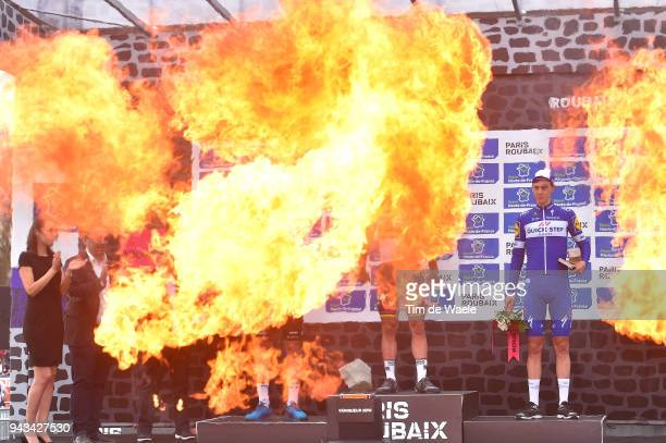 Podium Flames / Niki Terpstra of The Netherlands and Team QuickStep Floors / Celebration / during the 116th Paris to Roubaix 2018 a 257km race from...