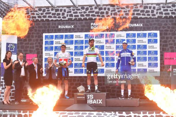 Podium Flames / Silvan Dillier of Switzerland and Team AG2R La Mondiale / Peter Sagan of Slovakia and Team Bora Hansgrohe / Niki Terpstra of The...