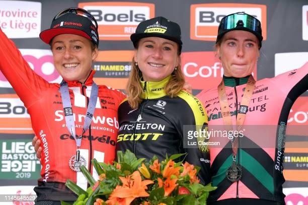 Podium / Floortje Mackaij of The Netherlands and Team Sunweb Silver medal / Annemiek Van Vleuten of The Netherlands and Team Mitchelton-Scott / Demi...