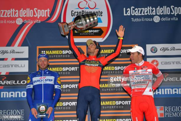 Podium / Florian Senechal of France and Team Quick Step Floors / Sonny Colbrelli of Italy and Bahrain Merida Pro Cycling Team Celebration / Davide...