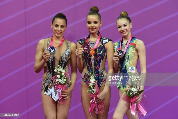 1 Dina Averina 2 Linoy Ashram 3 Anastasia Salos during the FIG 2018 Rhythmic Gymnastics World Cup at Adriatic Arena on 15 April 2018 in Pesaro Italy