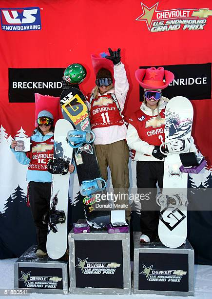 Podium for the Women's Halfpipe Final 3rd place Helena Hight 1st place Hannah Teter and 2nd place Kelly Clarke all of the USA pose during the US...