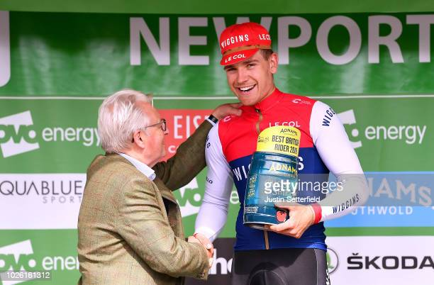 Podium / Gabriel Cullaigh of Great Britain and Team Wiggins Best British Rider / Celebration / during the 15th Tour of Britain 2018 Stage 1 a 1748km...