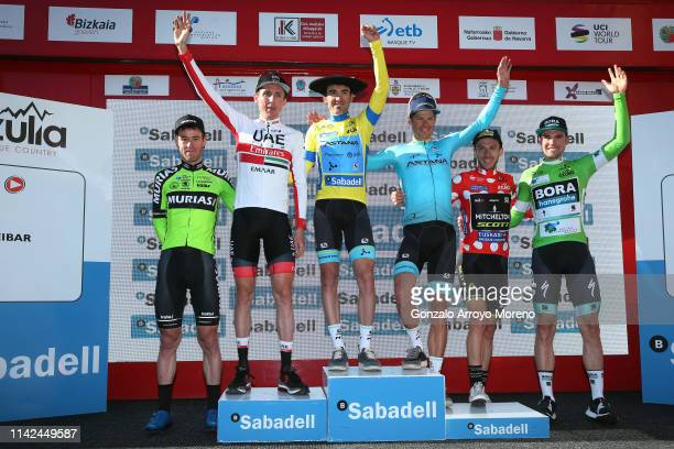 Podium / Garikoitz Bravo of Spain and Team Euskadi Basque Country - Murias Most Combative Rider / Daniel Martin of Ireland and UAE Team Emirates /...