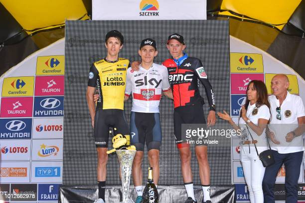 Podium / George Bennett of New Zealand and Team Lotto Nl - Jumbo / Michal Kwiatkowski of Poland and Team Sky / Dylan Teuns of Belgium and Bmc Racing...