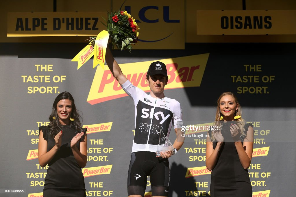 Podium / Geraint Thomas of Great Britain and Team Sky Celebration / during the 105th Tour de France 2018, Stage 12 a 175,5km stage from Bourg-Saint-Maurice Les Arcs to Alpe d'Huez 1850m / TDF / on July 19, 2018 in Alpe d'Huez, France.